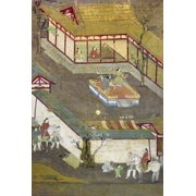 Life Of Buddha Nseated With His Father And Mother Prince Gautama Is Entertained By Dancers Japanese Silk Painting Early