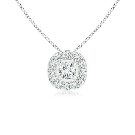 433239826 Angara - Valentine Jewelry gift - Classic Round Diamond Cushion Halo Pendant  in Platinum (3.2mm Diamond) - SP1108D-PT-GVS2-3.2 - Walmart.com