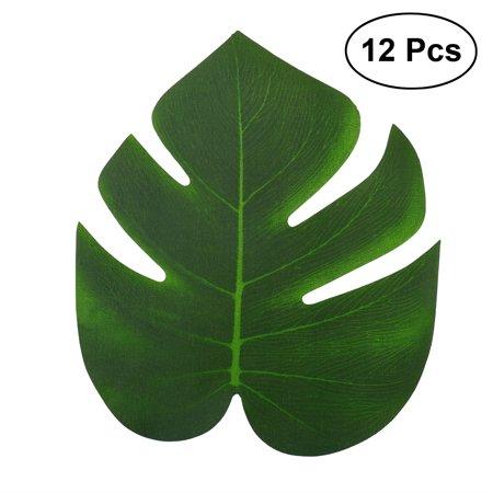 12pcs 20x18cm Artificial Tropical Palm Leaves Simulation Leaf for Hawaiian Luau Party Jungle Beach Theme Party Decorations (Island Themed Decorations)