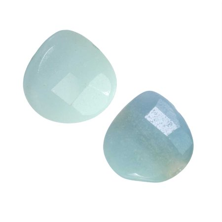 Briolette Natural (Natural Amazonite Gemstone Beads, Faceted Puff Heart Briolettes 13mm, 6 Pieces,Pale Aqua Green )