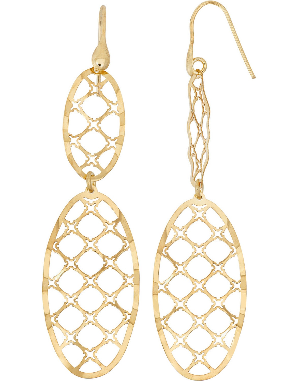 14kt Gold-Plated Sterling Silver Oval with Diamond-Shape Cut-Out Dangle Earrings