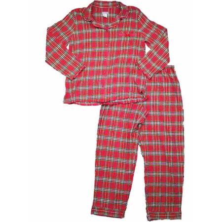 Womens Red Green White Plaid Checkered Print Flannel Pajamas Christmas Sleep Set