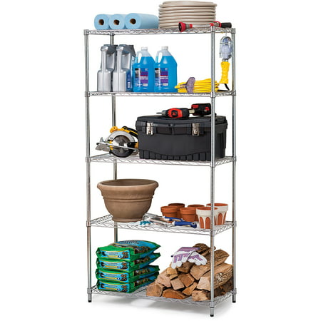 Work Choice 5-Tier Commercial Wire Shelving Rack, Zinc - Walmart.com