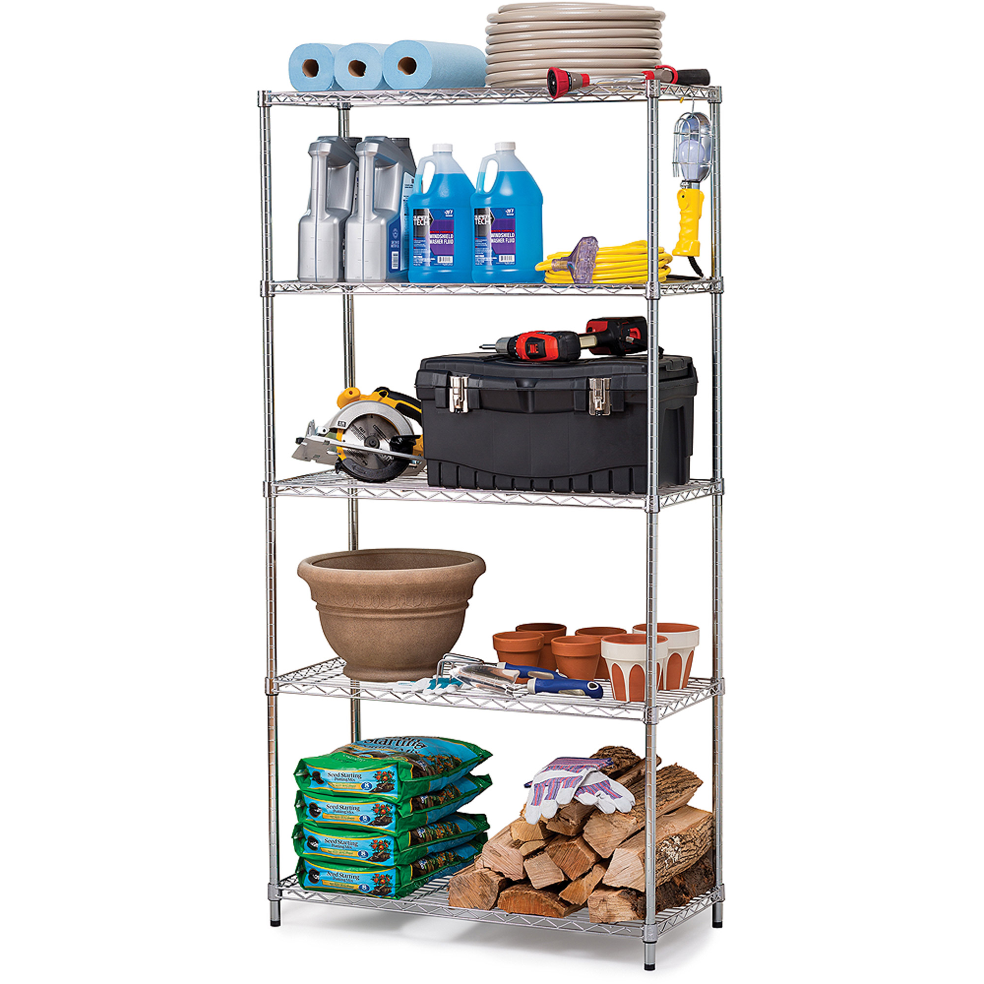 Work Choice 5-Tier Commercial Wire Shelving Rack Zinc  sc 1 st  Walmart & Work Choice 5-Tier Commercial Wire Shelving Rack Zinc - Walmart.com