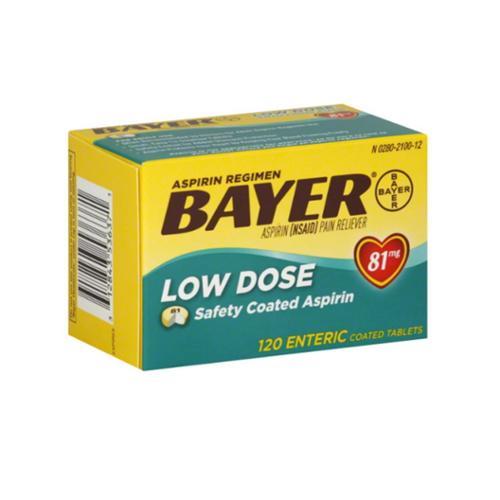 Bayer spirin Regimen Low Dose 81mg Enteric Coated Tablets 120 ea (Pack of 4)