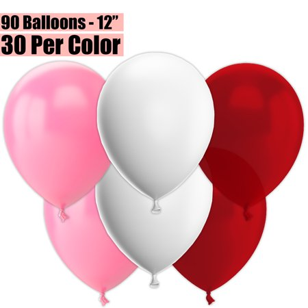 12 Inch Party Balloons, 90 Count - Pink + White + Burgundy Wine - 30 Per Color. Helium Quality Bulk Latex Balloons In 3 Assorted Colors - For Birthdays, Holidays, Celebrations, and More!!](90 Birthday Ideas)