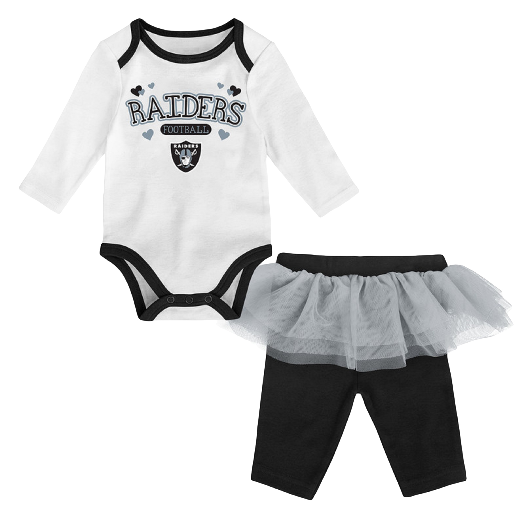 Girls Newborn & Infant White/Black Oakland Raiders Tulle Long Sleeve Bodysuit & Pants Set