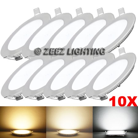 "ZEEZ Lighting - 12W 6"" (OD 6.65"" / ID 5.85"") Round Cool White Non-Dimmable LED Recessed Ceiling Panel Down Light Bulb Slim Lamp Fixture - 10 Packs"