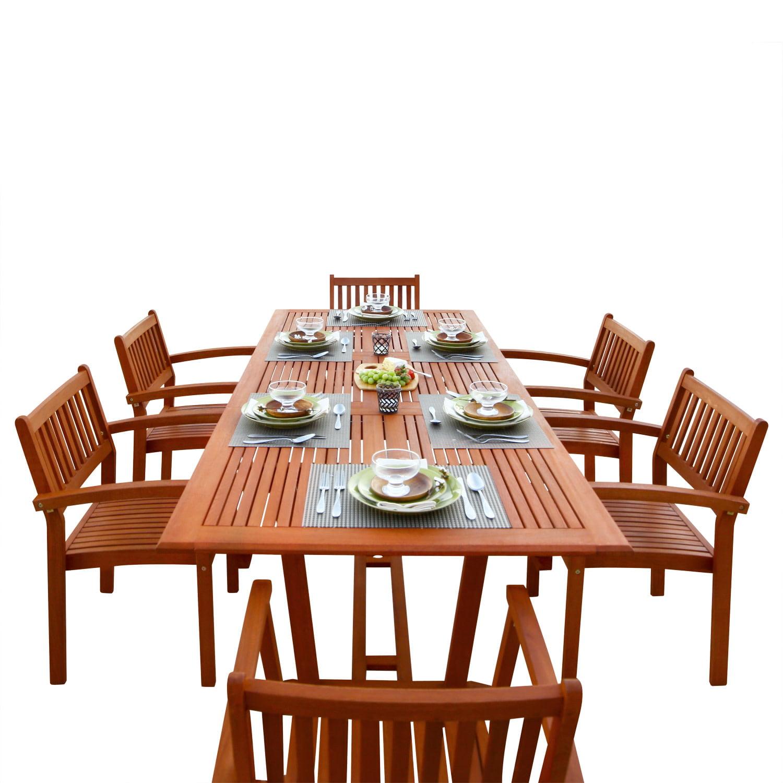 Malibu Eco-Friendly 7-Piece Wood Outdoor Dining Set V232SET5