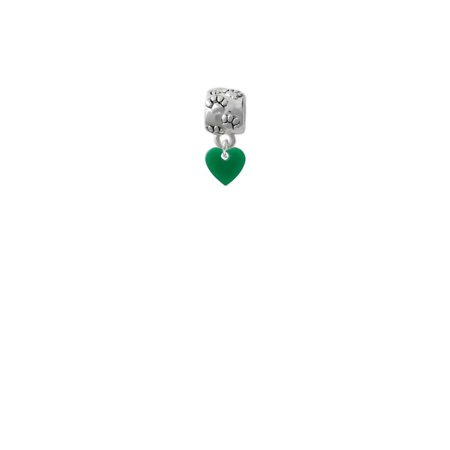 "Acrylic 5/16"" Green Heart - Paw Print Charm Bead"