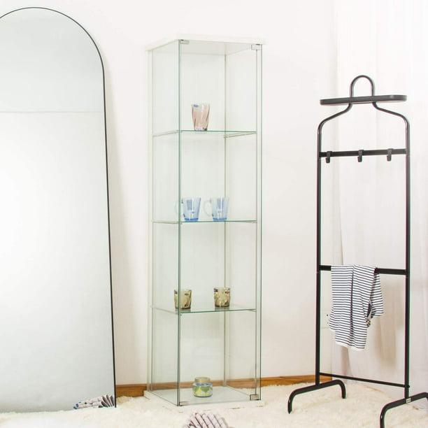 Curio Cabinet 4 Shelf Glass Floor, White Corner Curio Cabinet With Glass Doors