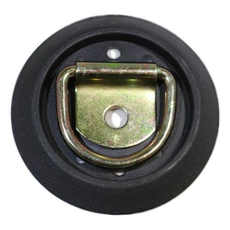 Low Profile, Semi-Recessed Pan Fitting with Black Plastic Trim Collar & - Plastic Trim Ring