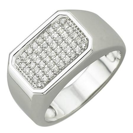 14K White Gold 0.29ct Multiple Stones Invisible Set White Diamond Men's Ring