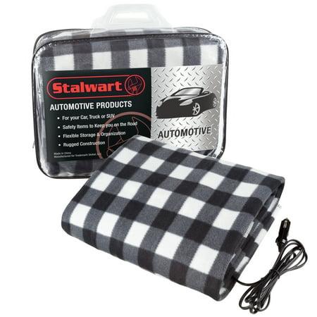 Electric Car Blanket- Heated 12V Polar Fleece Travel Throw for Car, Truck & RV by Stalwart (Black/White)