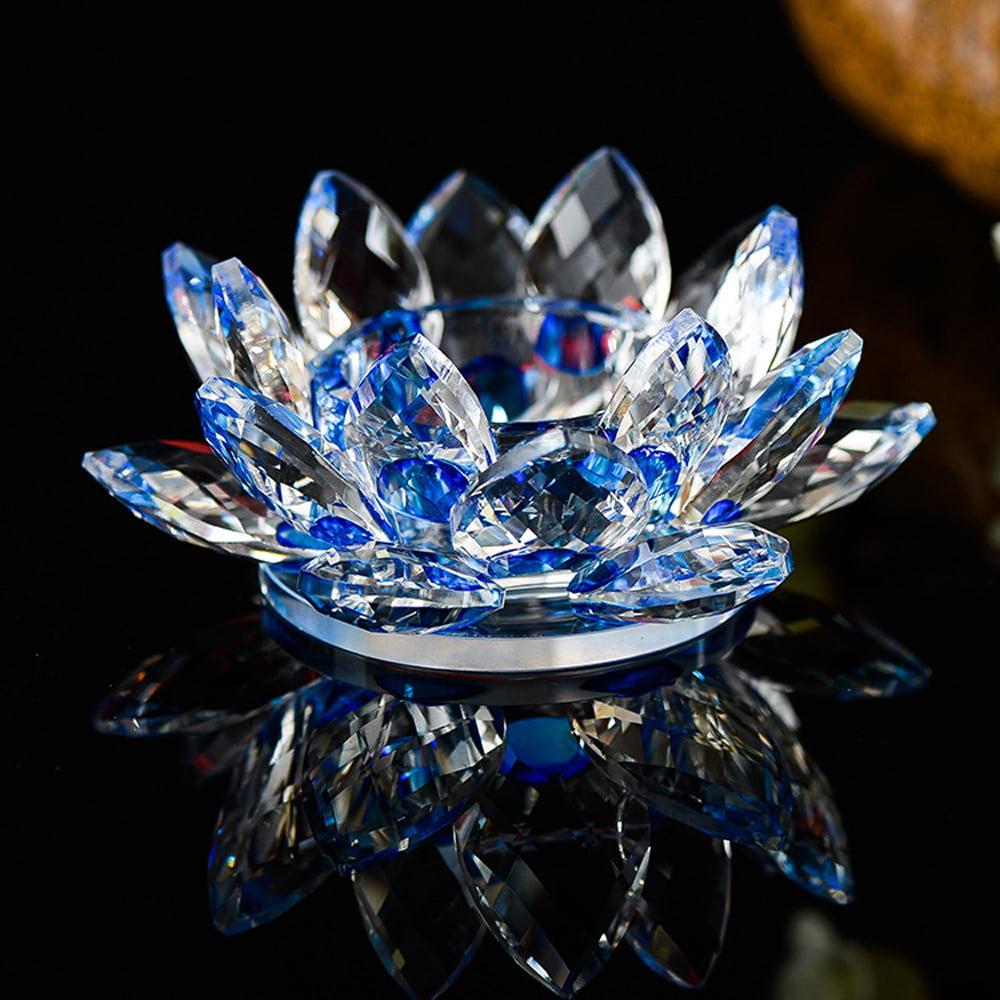 7 Colors Crystal Glass Lotus Flower Candle Tea Light Holder Buddhist
