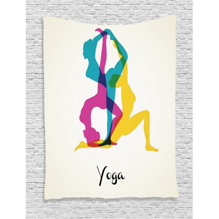 Yoga Decor Wall Hanging Tapestry  Different Yoga Poses Energetic Female In Motion Pilates Human Health Wellbeing Design  Bedroom Living Room Dorm Accessories  By Ambesonne