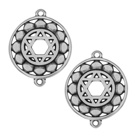 Chakra Components, Anahata / Heart Symbol Connector Link 24.5x19.5mm, 2 Pcs, Antiqued Silver Plated