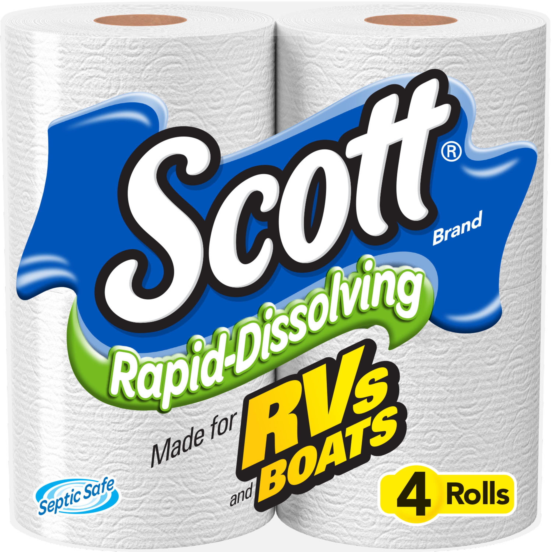 Scott Rapid Dissolving Toilet Paper 4 Rolls Walmart Com