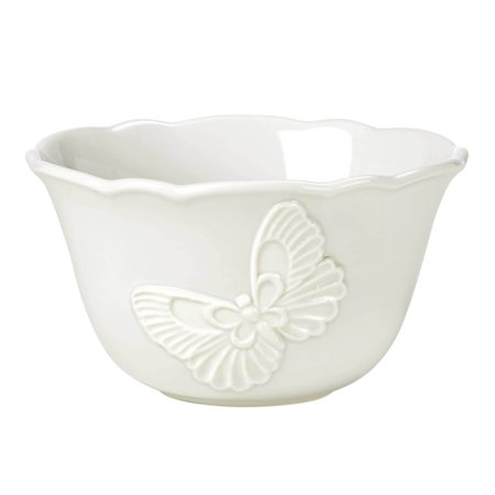 Lenox Butterfly Meadow Carved Dinnerware Vanilla Rice Bowl