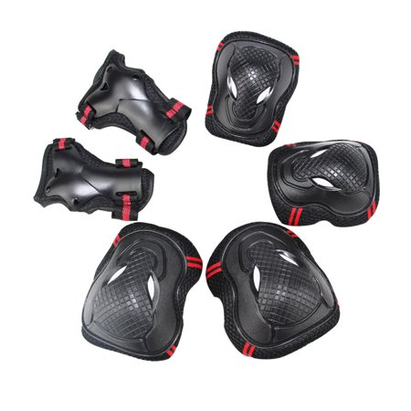 Elbow Wrist Knee Pads Sport Safety Protective Gear Guard for Teenager Skateboard Skating Cycling Riding Blading Set of 6pcs - Black + Red/M