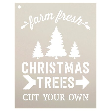 farm fresh christmas trees by studior12 winter farm word stencil reusable mylar template painting chalk mixed media use for wall art