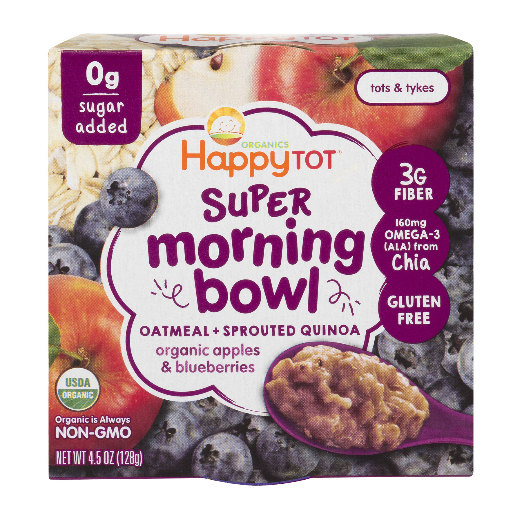 Happy Tot Organic Non-GMO Super Morning Bowl Oatmeal + Sprouted Quinoa Apples & Blueberries, 4.5 OZ