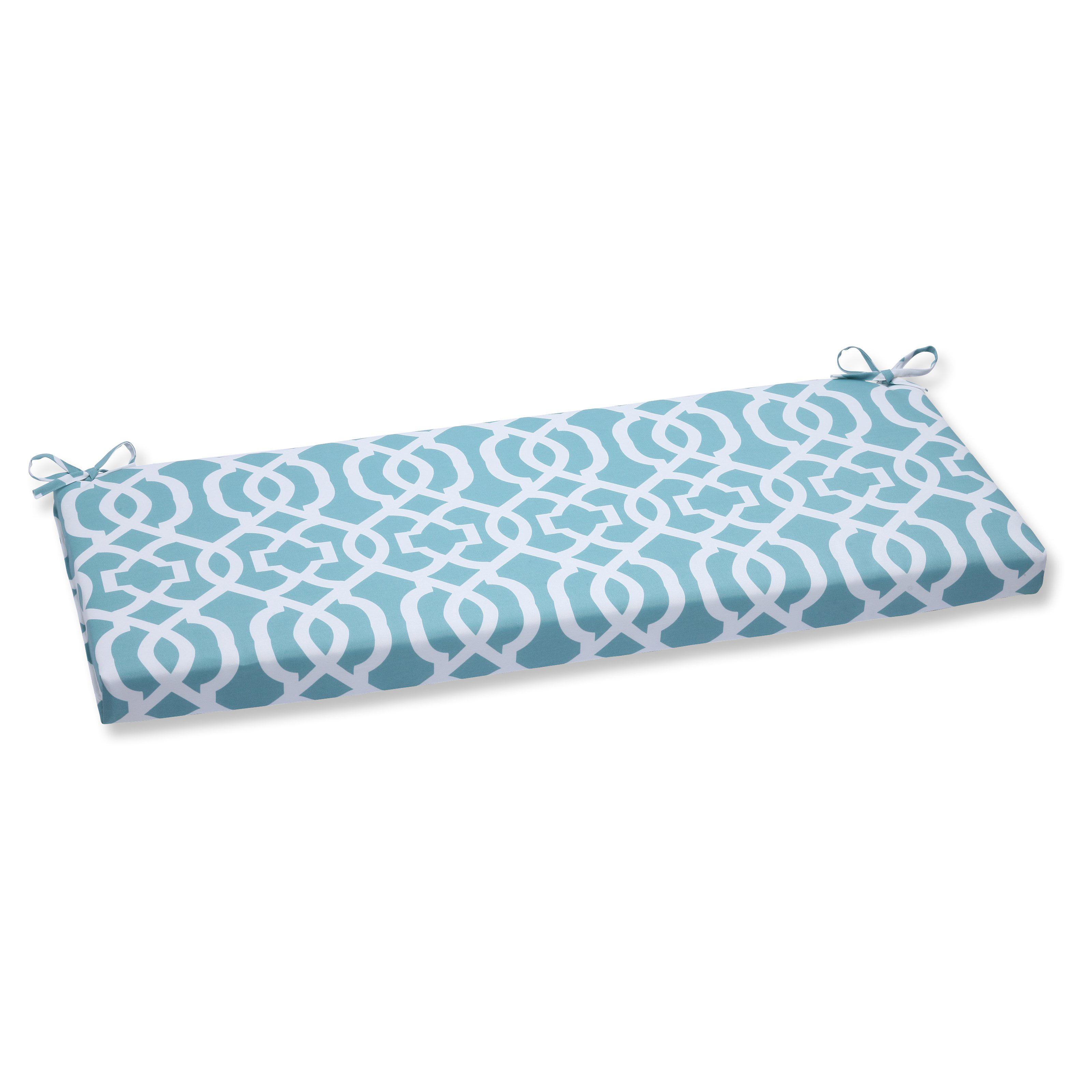 Pillow Perfect Outdoor Indoor New Geo Aqua Bench Cushion