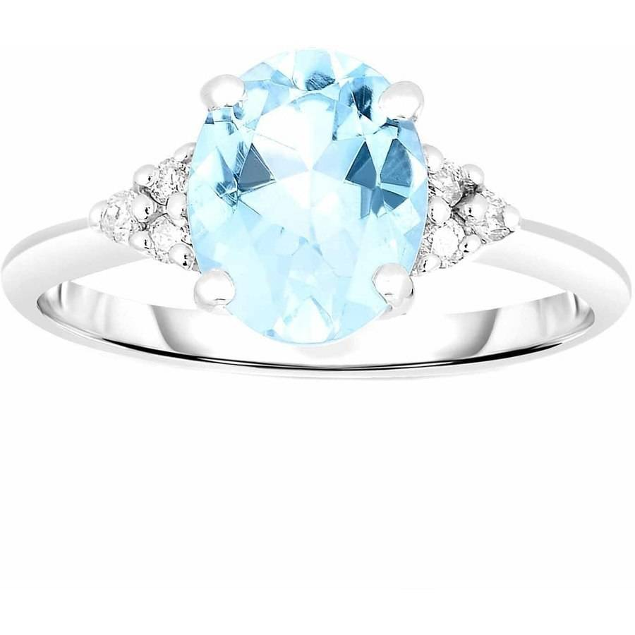 Genuine Aquamarine and .08 Carat T.W. Diamond 10kt White Gold Ring by Quality Color Design