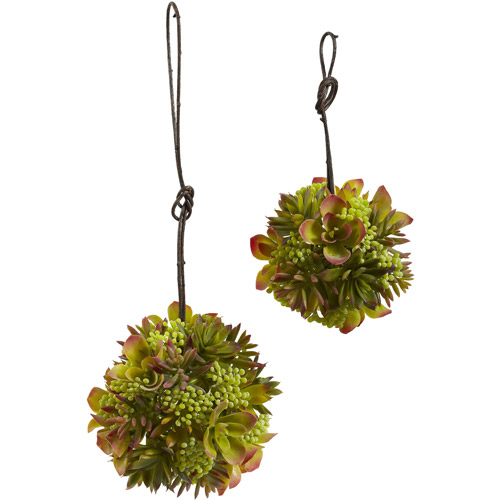 Nearly Natural 4968-S2 Mixed Succulent Spheres, 7-Inch and 5-Inch, Green, Set of 2