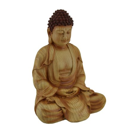 Sitting Meditating Buddha Decorative Faux Carved Wood Look Statue