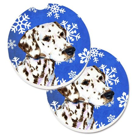 Dalmatian Winter Snowflakes Holiday Set of 2 Cup Holder Car Coaster - image 1 de 1