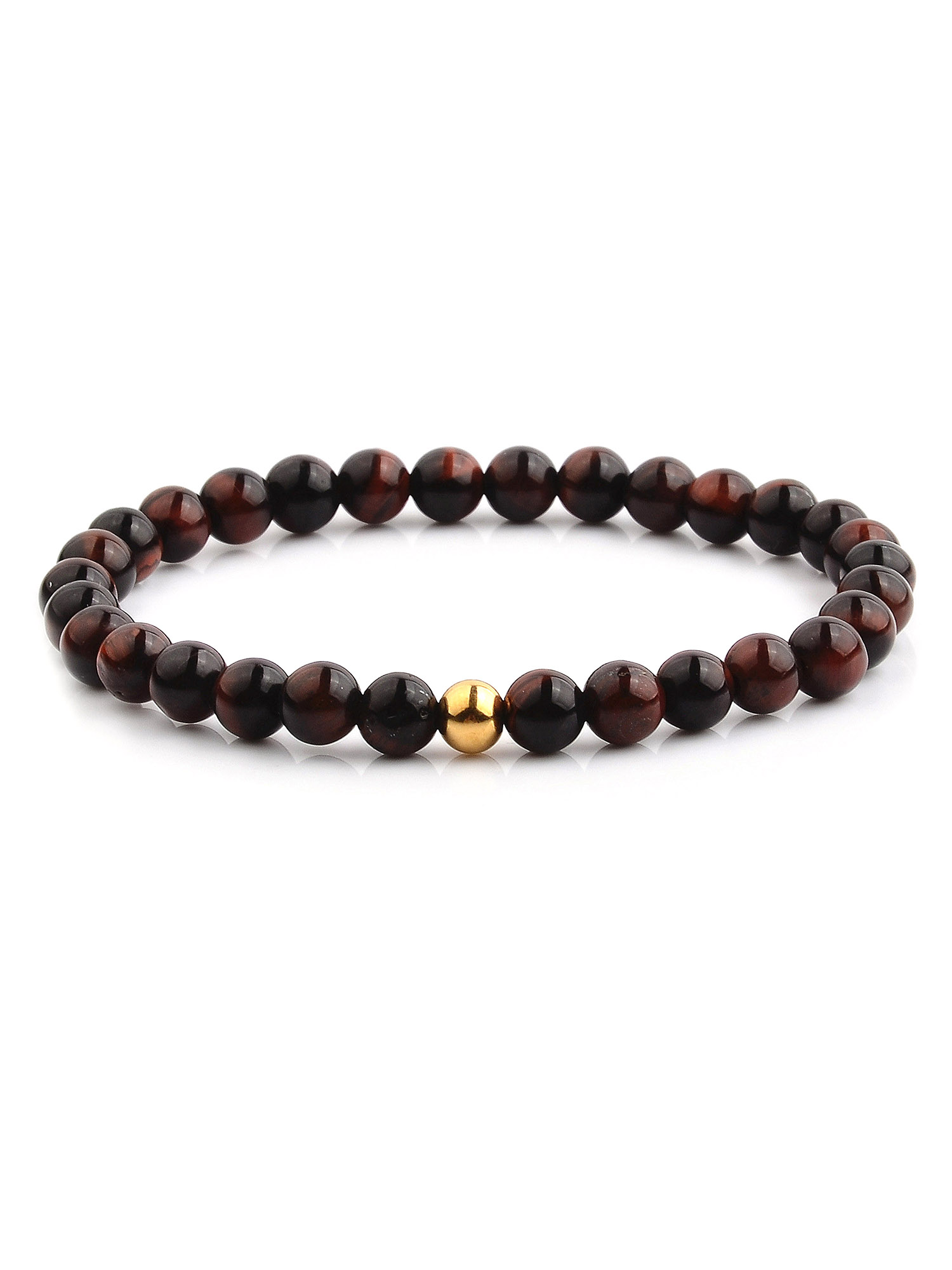 Gold Plated Stainless Steel Tiger's Eye Stone Stretch Bracelet (6.5mm)