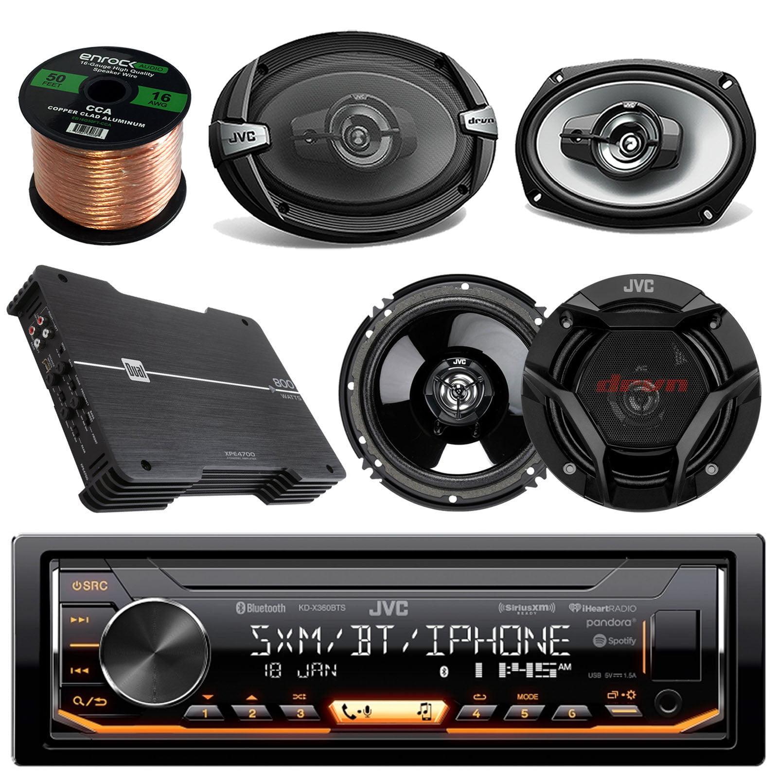 "JVC KD-X360BTS AM/FM USB AUX Car Stereo Receiver Bundle Combo With 2x JVC CSDR6940 6x9"" 3-Way Vehicle Coaxial Speakers + 2x CSDR620 6.5"" Audio Speaker + Dual XPE4700 800w Amplifier + 50Ft 16g Wire"
