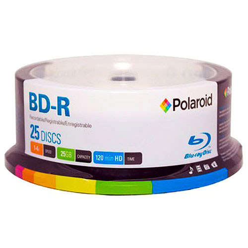 Polaroid PRBRAYR025S BD-R 25GB 120-Minute 4x Recordable Blu-Ray Disc, 25-Pack Spindle