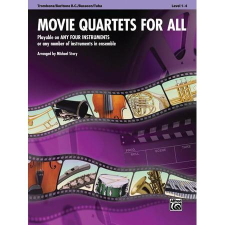 Movie Quartets for All, Trombone/Baritone B.C./Bassoon/Tuba, Level 1-4 ()
