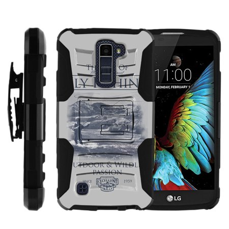 LG K10 and LG Premier LTE Miniturtle® Clip Armor Dual Layer Case Rugged Exterior with Built in Kickstand + Holster - Fly Fishing Poster