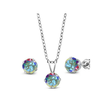 3.00 Ct Mercury Mist Mystic Topaz 925 Silver Pendant Earrings Set With Chain - image 2 of 2