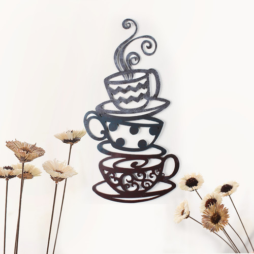 Adeco Trading Decorative Three Stacked Coffee Tea Cups Iron Widget Wall Decor