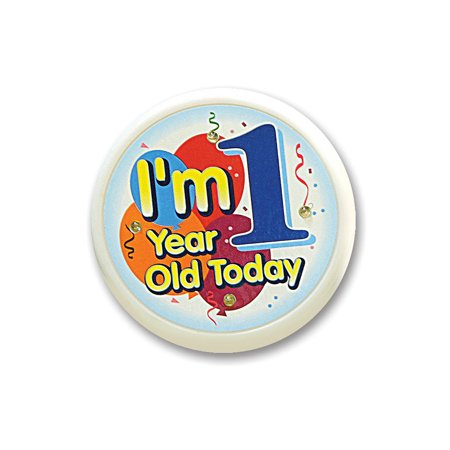 """Pack of 6 White """"I'm 1 Year Old Today"""" Toddler Birthday Celebration Buttons"""