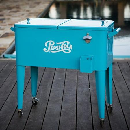 Permasteel 80 Qt  Pepsi Patio Rolling Cooler