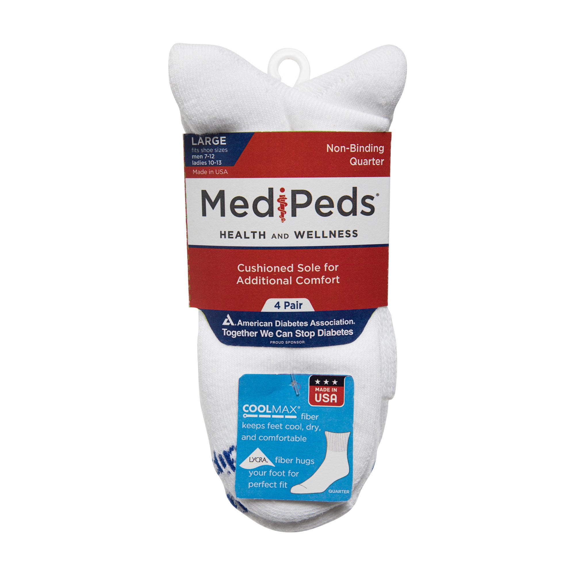 MediPEDS Men/'s 8 Pack Diabetic Quarter Socks with Non-Binding Top