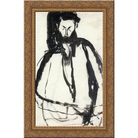 Bearded Man 18x24 Gold Ornate Wood Framed Canvas Art by Modigliani, Amedeo Amedeo Modigliani Framed Canvas