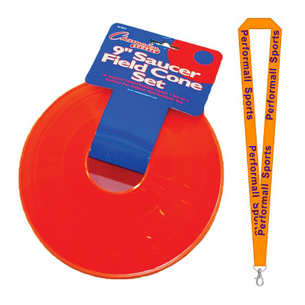 Champion Sports Bundle: (Set of 8) Saucer Field Cone Set Orange with 1 Performall Lanyard SC4SET-2P