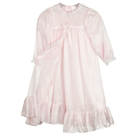 Laura Dare Girls Long Sleeve Traditional Peignoir Set in Solid Colors, 2T - 14 ()