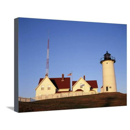 Nobska Lighthouse - Nobska Lighthouse, Woods Hole, Cape Cod, Massachusetts, USA Stretched Canvas Print Wall Art By Walter Bibikow