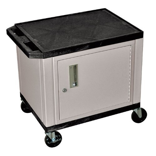 H WILSON WT26BUC2E-B 2-Shelf AV Cart with Cabinet, Tuffy, Blue