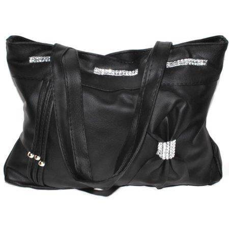 Black Double Handle Purse Handbag with Zipper Closure