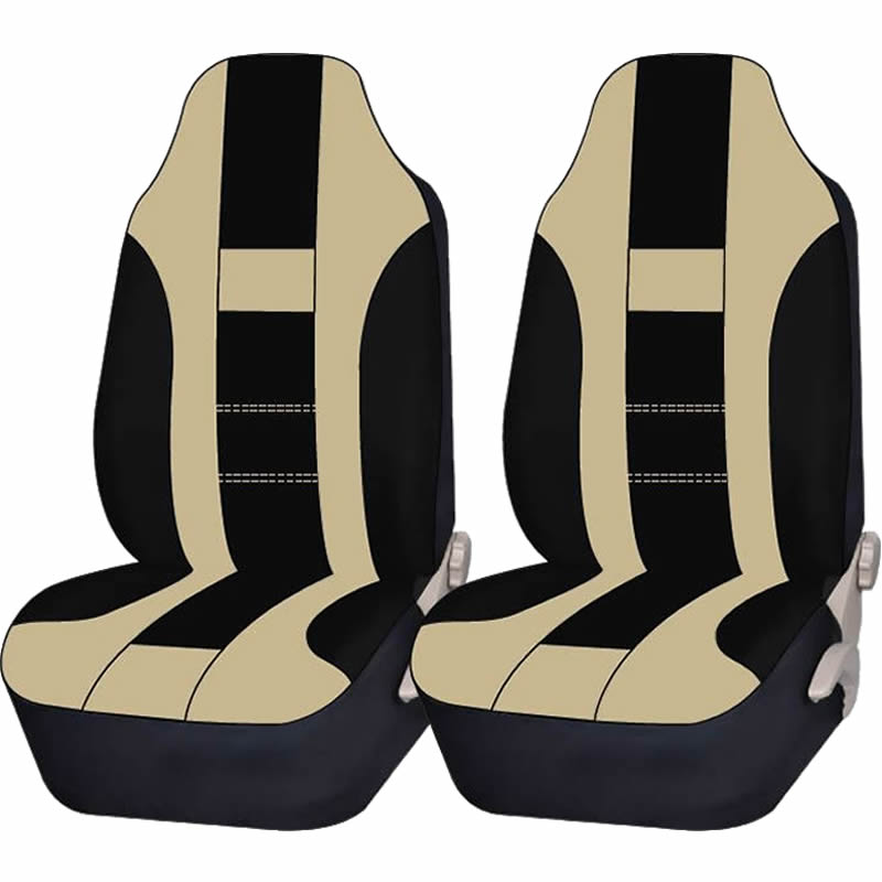 2 Piece Beige & Black High back Double Stitched Front Seat cover Universal Car Truck SUV
