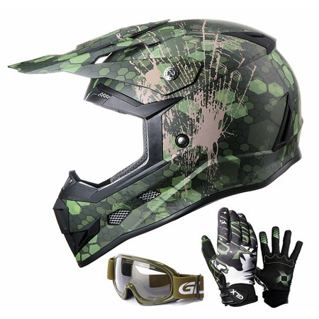 c11317d28284 GLX Youth Kids Off Road Motocross ATV Dirt Bike Helmet  DOT  +Gloves+Goggles  Color Size Opt - Walmart.com