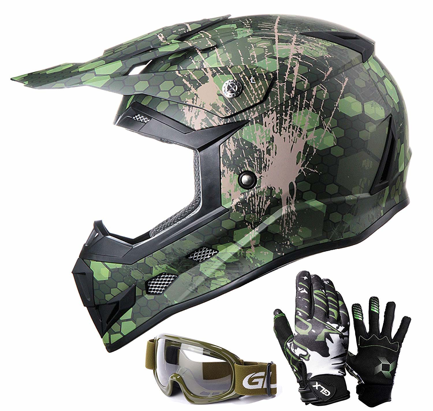 GLX Youth Kids Off Road Motocross ATV Dirt Bike Helmet [DOT] +Gloves+Goggles Color/Size Opt